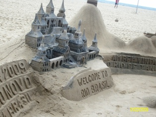 castle sand art on beach in rio